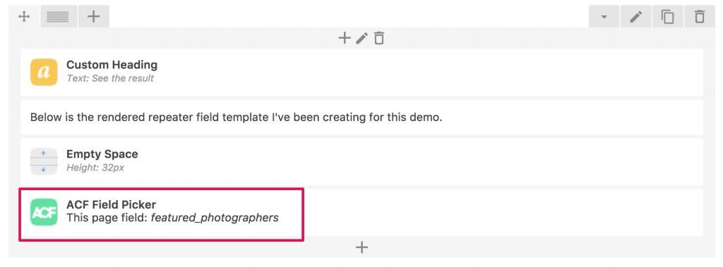 How to create a template for ACF Repeater with Visual